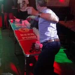 Showing us how beer pong meets grace (& success & karaoke) 😄