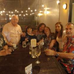 Despite torrential rains, the event at Wood & Fire was another fun evening. Left to right: Bill Patterson, Jon Fay, Joyce Ferder, Daisy Caro-Fay, Beverlee Patterson, Carmen & Claudio Marcel.